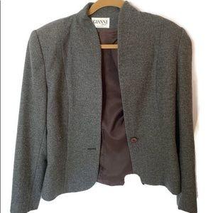 GIANNI Grey Blazer Size 10 100% Pure Wool